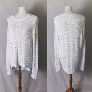 NWT LOFT Cotton Open Knit Sweater